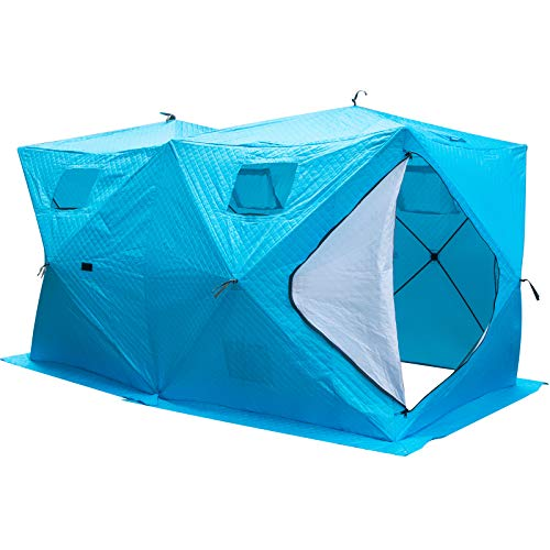 Popsport Ice Fishing Tent 8 Person Waterproof Pop-up Portable Ice Fishing Shelter with Detachable Ventilation Windows & Carry Bag Frost Resisting Oxford Fabric Zippered Door (8 Blue