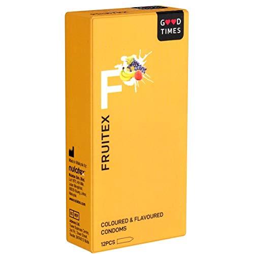GoodTimes Fruitex - 12 preservativos frutales para deliciosas duplicaciones (plátano, fresa, uva)