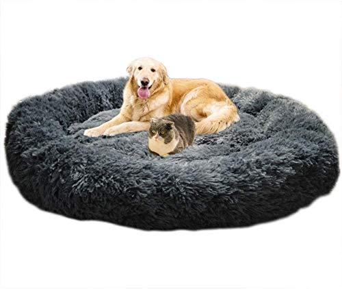 Pluizig nepbont hondenslaapbank Donut rustgevend huisdier bedkussen Knus huisdier voor kleine, middelgrote en extra grote hondenkatten,M3,50CM