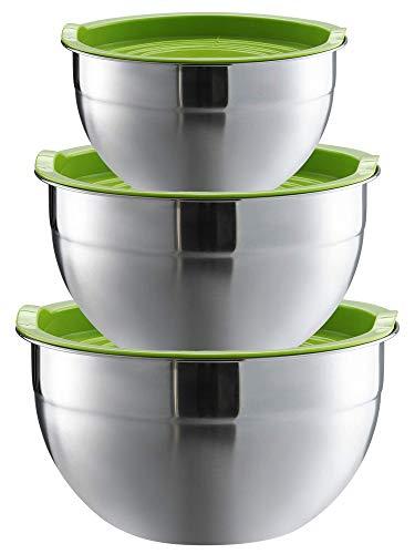 3 Boles de Acero Inoxidable con Tapa - Hermeticos - Apilables - Ahorra Espacio - Bol Metalico para Ensalada, Reposteria