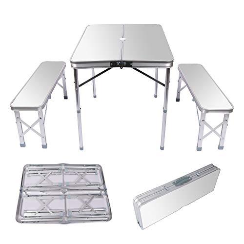 Wiltec Aluminium Koffertisch mit Zwei Bänken silberfarben 90x66x70 cm klappbar Campingtisch Sitzgruppe