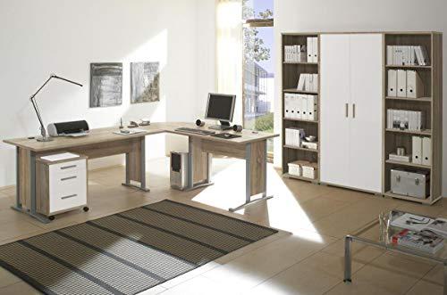 Bürozimmer Office Line Set 3 Eiche Sonoma Weiss 5 TLG Büromöbel-Set Schreibtisch