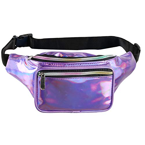 Fotociti Holographic Fanny Pack– Fashion Rave Waist Bag with Adjustable Belt for Women and Men (Holographic Purple)