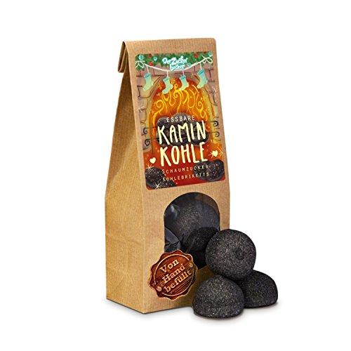 Essbare Kaminkohle, schwarze Schaumzucker Kohle-Briketts, schöne Geschenk-Idee in der Adventszeit