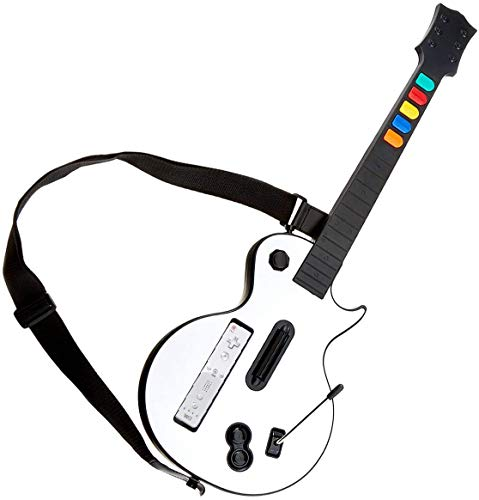 Guitarra Wii Blanca,DOYO Controlador de Guitarra Wii desmontable, Nintendo Wii Guitar Hero y Rock Band Game para Guitarra Inalámbrica.