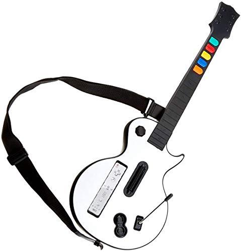 Guitare Blanche pour Wii, DOYO Contrôleur de Type Guitare Amovible pour Wii, Guitare sans Fil pour les Jeux sur Nintendo Wii Guitar Hero et Rock Band