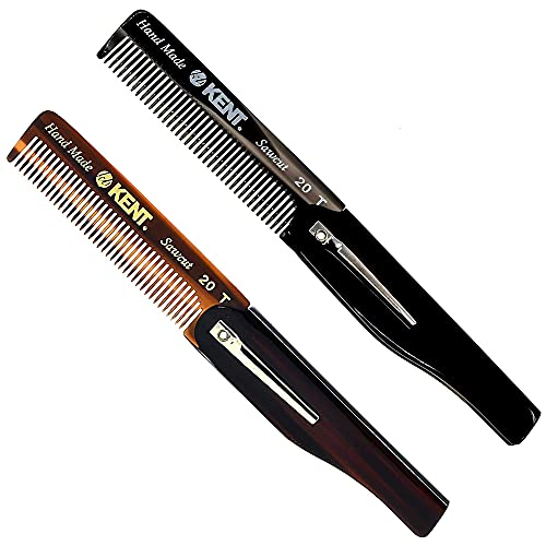 Kent 20T Handmade Folding Pocket Comb for Men, Fine Tooth Hair Comb Straightener for Everyday Grooming Styling Hair, Beard or Mustache, Use Dry or with Balms, Saw Cut Hand Polished, Made in England