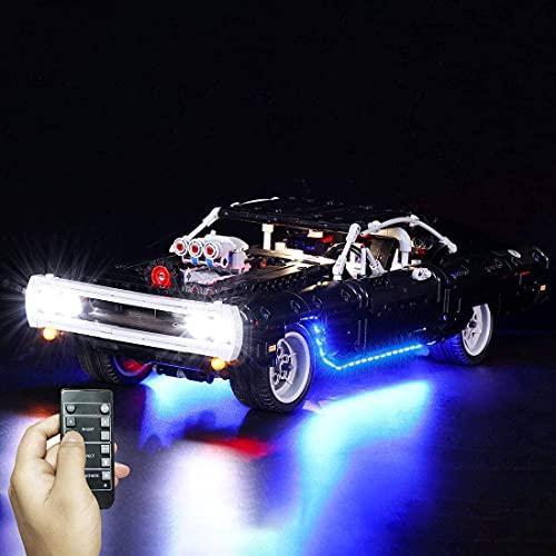 FYHCY Kit de iluminación LED para Lego 42111 - Kit de Luces LED para Lego Technic Fast & Furious Doms Dodge Charger Modelo de Coche de Carreras (Solo Juego de Luces LED, sin Kit Lego) A