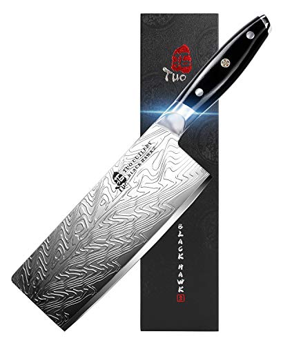 TUO Vegetable Meat Cleaver Knife - Chinese Chef's Knife 7-inch High Carbon Stainless Steel  - Kitchen Knife with G10 Full Tang handle - Black Hawk-S Knives Including Gift Box