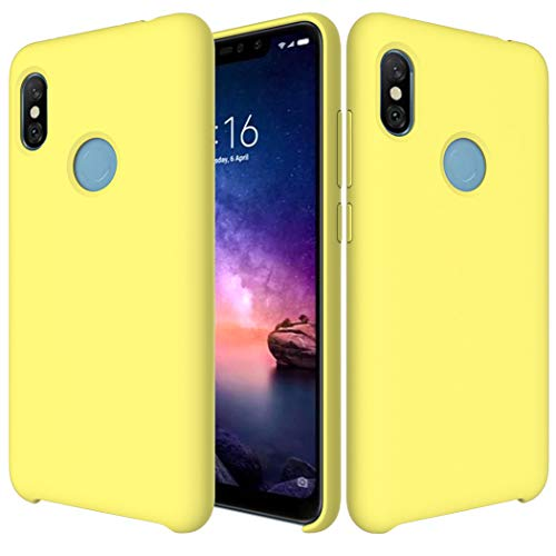 Funda Xiaomi Redmi Note 6 Pro Funda Líquido Silicona Suave Flexible Antigolpes Caso Redmi Note 6 Pro Funda Silicona Cubierta Gel TPU Tapa Shock-Absorción Premium Protector Case Cover Amarillo