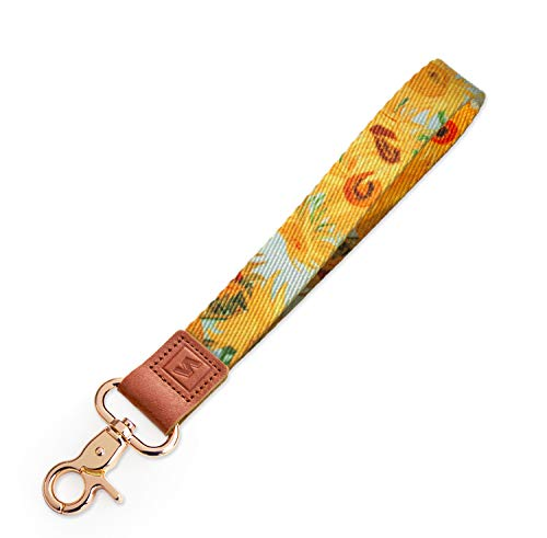 SENLLY Van Gogh Sunflowers Hand Wrist Lanyard Premium Quality Wristlet Strap with Metal Clasp and Genuine Leather, for Key Chain, Cell Mobile Phone, Camera, Charms, Lightweight Items etc