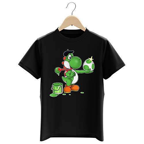 OKIWOKI Maglietta Nera per Bambini e Ragazzi Parodia Yoshi - Yoshi Verde - (T-Shirt di qualità Premium in Taglia 5-6 Anni - Stampata in Francia - RIF : 545)