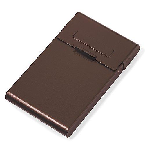 TROIKA HAUPTROLLE KARTENETUI- CDC16-02/BR- Visitenkartenetui - mit Rollmechanismus - für ca. 10 Visitenkarten o. Kreditkarten - Aluminium - braun - das TROIKA-Original