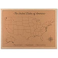 Amazon Com Cork Board Organizer Map Push Pin Travel Map Usa Wood