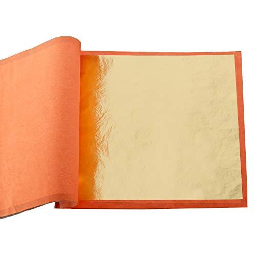 KINNO 25 stücke Imitation Blattgold Schlagmetall, Gold Blattkupfer zum Basteln Schlagmetall Kunstprojekt, 14cm*14cm Broschüre