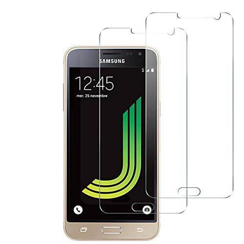 NEW'C Lot de 2, Verre Trempé pour Samsung Galaxy J3 2016 Film Protection écran - Anti Rayures - sans Bulles d'air -Ultra Résistant (0,33mm HD Ultra Transparent) Dureté 9H Glass