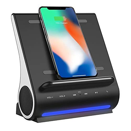 Azpen Dockall D108 Wireless Charging Dock with Upgraded Bluetooth Speakers Wireless Charging for iPhone 12 12 Pro  12 Mini  11 11 Max  11 Max Pro XS Max Samsung S20  Note 20  S10  S9  S9+ Black