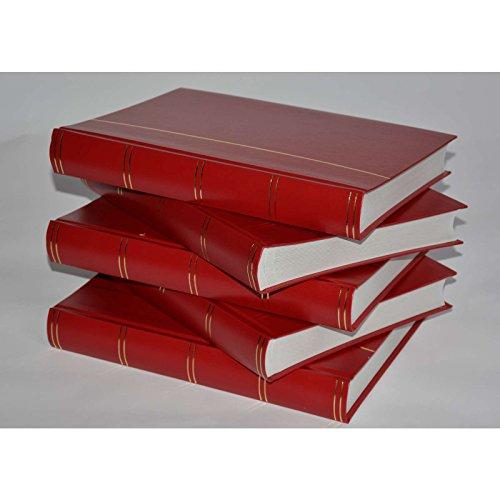 Goldhahn Briefmarkenalbum, Einsteckbuch, Einsteckalbum, 60 weiße Seiten, roter Einband -5er Karton Briefmarken für Sammler