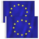 RYMALL Drapeau de l'Europe UE-Drapeau de l'Union Européenne 90x150cm Polyester-Drapeau UE Grande Taille Couleurs Vives et Drapeaux Nationaux à Double Couture