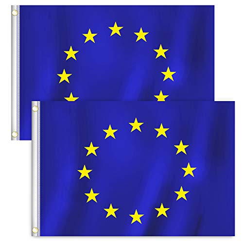 RYMALL 2 Stück 90 x 150 cm Europaflagge,Europa Flagge,Europa Fahne,European Flag Bundes und Länderflagge aus wetterfestem Material mit Metallösen (EU 90 x 150 cm)