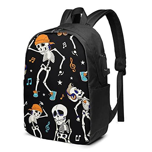 Sac à Dos Homme Femme Ordinateur Portable 17 avec Port De USB pour Voyage Affaires École Costume Dansant Skull Party