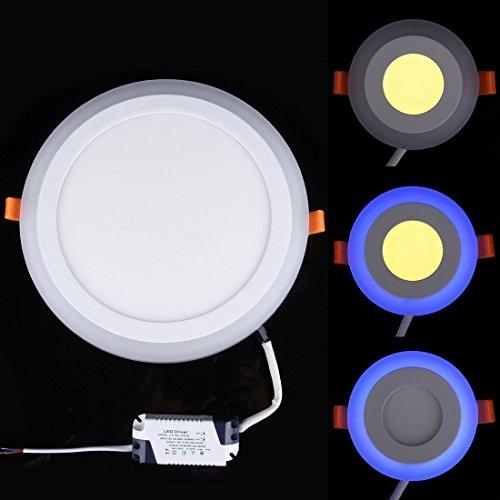 Ampoules , 18W + 6W Isolation de grande tension deux couleurs (blanc + bleu) rond LED double panneau mural plafonnier avec 3 modes de luminescence, AC 100-265V, taille: 245x245x10mm ( SKU : Led2106c )