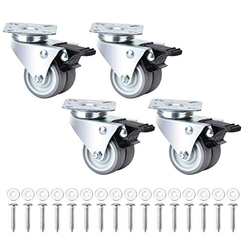 Queta 4 Lenkrollen für Möbel + Schrauben + Dichtungen 50mm 200KG Transportrollen Set mit bremse   Schwerlastrollen rollen für Palettenmöbel   Möbelrollen, Doppelrollen (Typ 3)