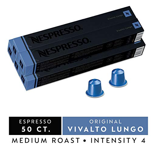 Nespresso Capsules OriginalLine, Vivalto Lungo, Medium Roast Coffee, 50 Count Coffee Pods, Brews 3.7oz