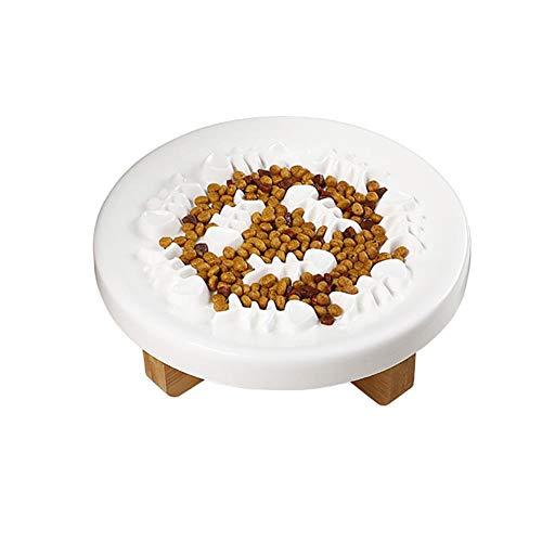Dracol Anti-Schling-Napf für Hunde und Katzen, rutschfest Langsam Fütterung Hundenapf Katzennapf mit Bambus Halter,zur Reduziert Verschlucken und Überessen Weiß