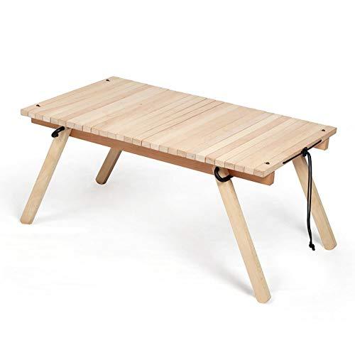 Picknick-Klapptisch, im Freien beweglichen Camping Tisch, mit Roll Up Beech Table Top und Drawstringentwurf, für Küche Garten oder Parteien,Beige