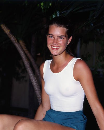Brooke Shields 1980's Pose in White Vest Shorts Cute 8x10 HD Aluminum Wall Art