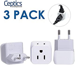 Ceptics European Travel Plug Adapter, Ceptics Europe Power Adaptor Charger Dual Input - Ultra Compact - Light Weight - USA to any Type C Countries such as Italy, Iceland, Austria and More (CT-9C)