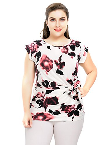 Chicwe Women's Plus Size Stretch Floral Rose Printed Casual Top Blouse with Waist Mock Tie 4X