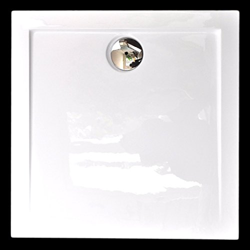 Superflache Duschwanne Duschtasse 80 x 80 x 3,5 cm Komplettes Set, quadratisch kratz und rutschfest aus Acryl, glatt Weiß Höhe 3,5 cm inkl. Ablaufgarnitur von Art-of-Baan®