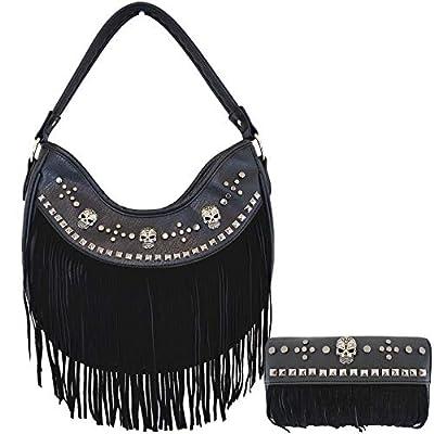 Punk Gothic Skull Leather Fringe Concealed Carry Purse Studs Handbag Women Shoulder Bag Wallet Set Black