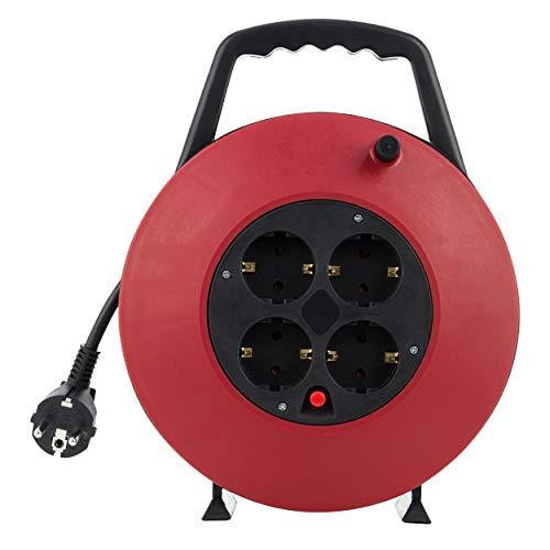 REV 008818 Kabeltrommel, Kabelbox 4-fach, 10m, Überhitzungsschutz, rot