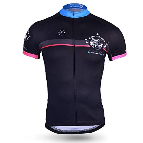 Heqianqian Cycling Jersey Men's Cycling Jacket Personality Short Top Back Pocket With Cycling Jersey Racing Bicycle Clothes (size:M; color:One Color)