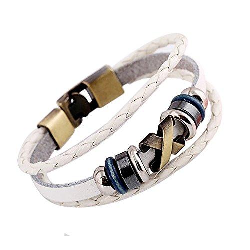 AIUIN 1x Retro Armband Logo X-Armband geflochtenes Leder Damen Armband, dekorativ, weiß