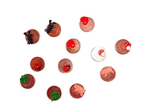 ERRO 12 Glückscents als Glücksbringer zu Silvester, Glücks Cent für Neujahr, Sylvester, zur Prüfung. Tischdeko, Geschenkidee