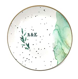 PaperGala Personalized Ring Dish for Jewelry Gift, Ceramic Mixture Lightweight Durable Green Marbled Speckled Foiled Design Resin Sealed Glossy Finish