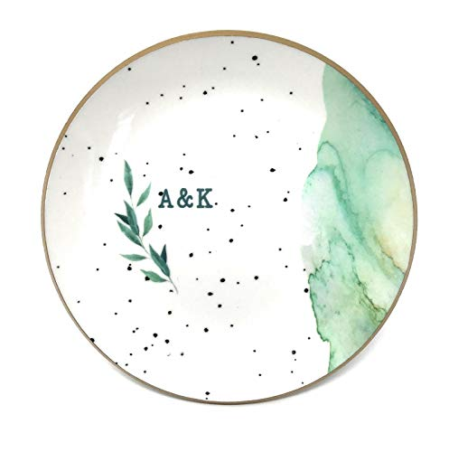 PaperGala Personalized Ring Dish for Jewelry Gift, Ceramic Mixture Lightweight Durable Green Marbled Speckled Foiled Design Resin Sealed Glossy Finish (Green)
