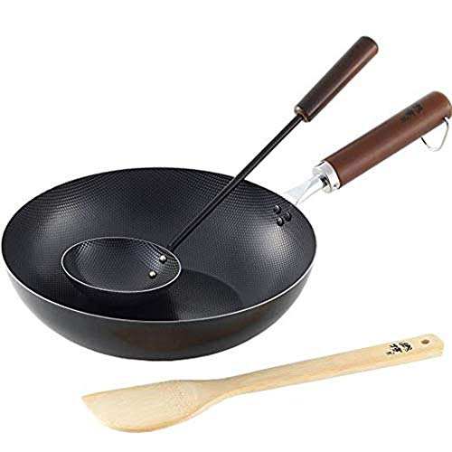 LIBINA Japanese Wooden Handle Wok Wok with Iron Soup Spoon and Bamboo Spatula 26cm Flat Bottom Low Smoke Non-Stick Pan for Direct Fire Induction Cooker Gas Cooker