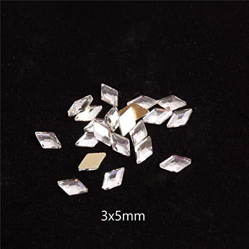 Lot de 30 strass pour nail art en forme de losanges transparents/cristal AB - Motifs 3D - Pour décoration d'ongles - 3 x 5 mm - Cristal AB