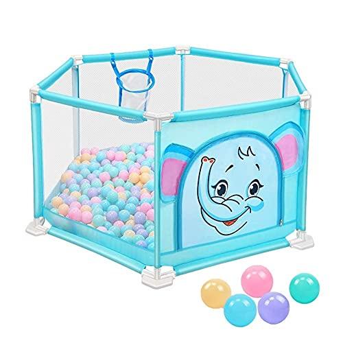 Bärbart säkerhetsaktivitetscenter 6-paneler inomhus säkerhetsstaket med boll, 66 cm hög, lämplig för barn/unga barn/nyfödda/baby säkert krypande (färg: 205 bollar)