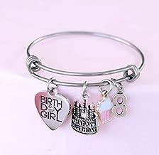 8th Birthday Girl Gift Idea Charm Bangle Bracelet, Daughter, Granddaughter with Enamel Cupcake