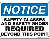 Nongmei Segnale di Avvertimento Occhiali di Sicurezza e Scarpe Antinfortunistiche necessarie Oltre Questo Punto Segnale Segnale Stradale Segnale Commerciale 8X12 Pollici Targa in Metallo in Alluminio