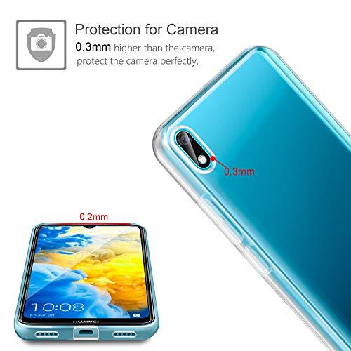 Leathlux Huawei Y5 2019 Hülle + [2 Pack] Panzerglas, Huawei Y5 2019 Durchsichtig Case Transparent Silikon TPU Schutzhülle Premium 9H Gehärtetes Glas für Huawei Y5 2019 - 4
