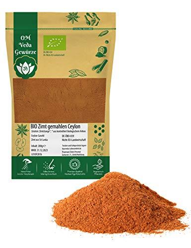 BIO Zimt Ceylon gemahlen Zimtpulver | Echter Zimt Canehl aus Sri Lanka | Organic Bio-zertifiziert DE-ÖKO-039 | Cinnamon Powder | Für Gesunde Küche und Tee