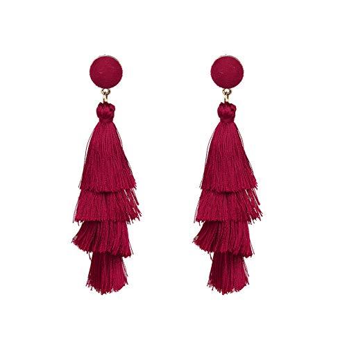 hemore pendientes a la Mode pompón en seda para mujeres pendientes de Bohemia Dangle multicapa con flecos pendientes Goujon regalo pendientes 1par rojo rojo