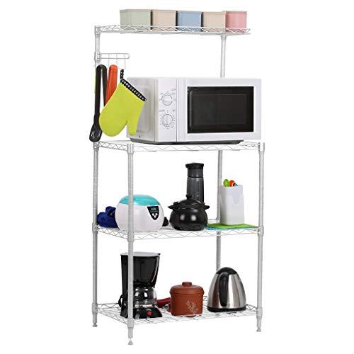 Estantes de cocina, parrillas, estantes de almacenamiento de microondas, sala de estar, estante de almacenamiento de 3 dormitorios con marco de malla metálica, ganchos laterales, acabado plateado
